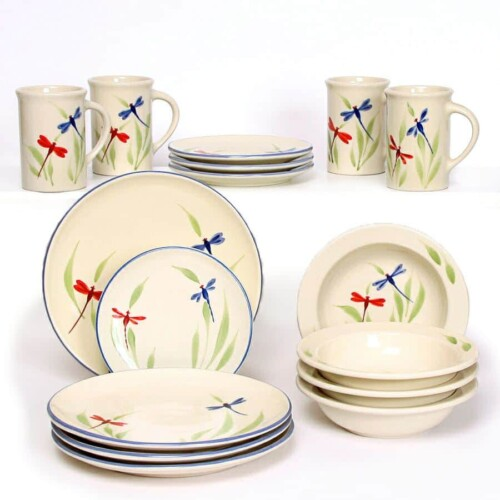 Dragonfly Coupe Dinner Plate Set for Four