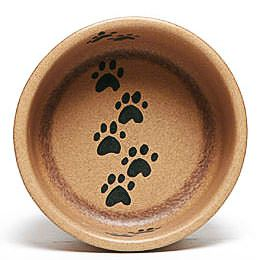 Walking Paws Large Go Green Earthware Pet Bowl