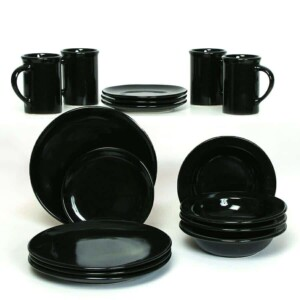 Onyx Black Coupe Dinner Plate Set for Four