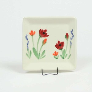 Red Poppy Square Appetizer Plate