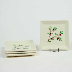 Cranberry Square Appetizer Plate Set of Four
