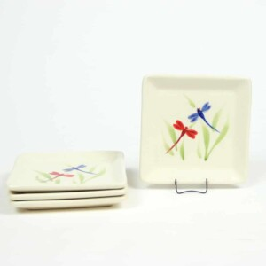 Dragonfly Square Appetizer Plate Set of Four