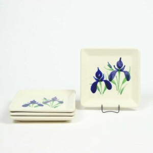 Field of Iris Square Appetizer Plate Set of Four