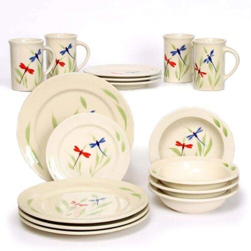 Dragonfly Classic Dinner Plate Set for Four