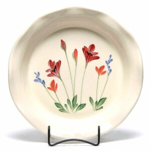 Red Poppy Frilly Pie Plate