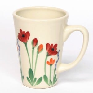 Red Poppy Latte Mug