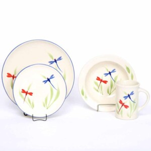 Dragonfly Coupe Dinner Plate Set for One