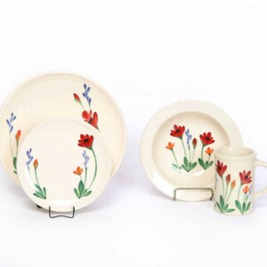 Red Poppy Coupe Dinner Plate Set for One
