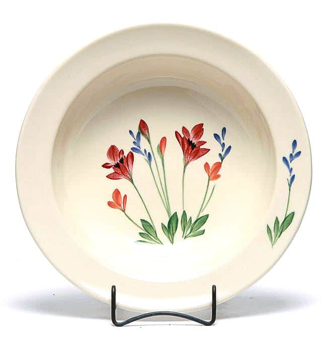 Red Poppy Large Serving Bowl