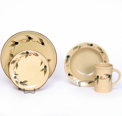 Tuscan Olive Coupe Dinner Plate Set for One