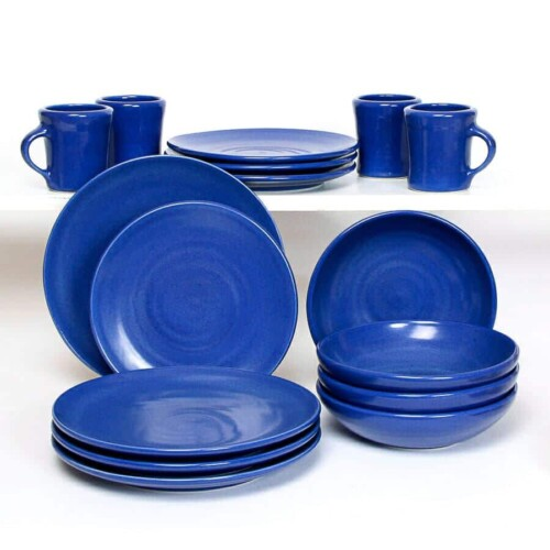 American Blue Coupe Dinner Plate Set for Four