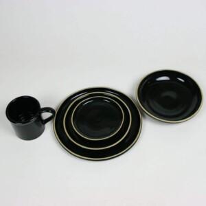 Onyx Black BROOKLINE Dinner Set for One